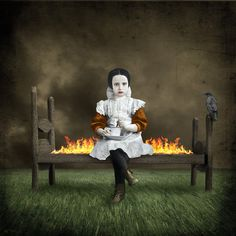 """by Beth Conklin -- """"From ashes I came, To ashes, I'll return: But tonight I'm content to sit here and burn"""" -C. Ying Y Yang, Image Symbols, Neon Sign Bedroom, Art Connection, Magazine Collage, Magic City, Arte Horror, Pop Surrealism, Imagines"""