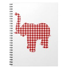 Red Houndstooth Elephant Spiral Note Books