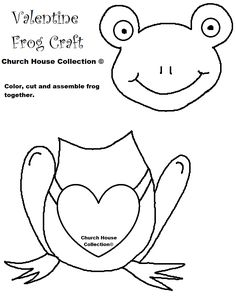 Frog Valentine Craft for kids Cutout Template no words.png (816×1056)