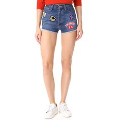 Etienne Marcel High Rise Destroyed Shorts ($58) ❤ liked on Polyvore featuring shorts, blue destroys, high-rise shorts, distressed shorts, cut-off shorts, patch shorts and etienne marcel