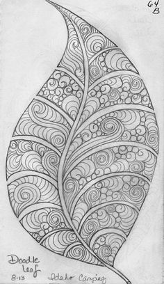 Leaf Designs 5 - Doodle and Zentangle Zentangle Drawings, Doodles Zentangles, Doodle Drawings, Sketchbook Drawings, Zen Doodle, Doodle Art, Coloring Books, Coloring Pages, Tangle Art