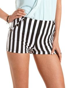 Striped High Waisted Ponte Short: Charlotte Russe #smpliving