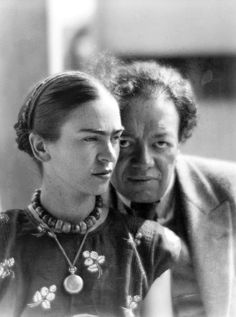 """azulgardenia:    """"There have been two great accidents in my life. One was the trolley, and the other was Diego. Diego was by far the worst.""""-Frida Kahlo  Frida Kahlo and Diego Rivera by Martin Munkácsi. Mexico, 1933"""