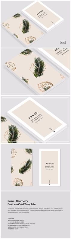 Palm + Geometry Business Card by The Design Label on @Creative Market