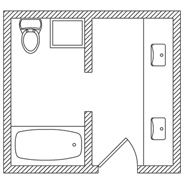 KOHLER | Floor Plan Options | Bathroom Ideas & Planning | Bathroom |   looks like downstairs basement bath space
