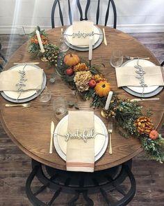Plate Setting Thankful Wood Word Cutout Wreath Decor Thankful | Etsy Fall Table Settings, Thanksgiving Table Settings, Holiday Tables, Thanksgiving Decorations, Seasonal Decor, Thanksgiving Tablescapes, Table Decor For Thanksgiving, Thanksgiving Plates, Christmas Tables