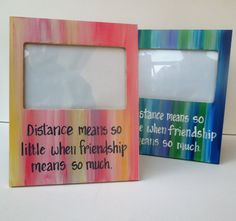 Long Distance Friend picture frame. Photo frame with by PaintedSea