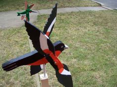 Handmade Wooden Baltimore Oriolee Bird Shaped Whirligig For Your Yard