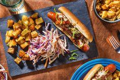 Cheese Dog with Bacon Jam, Fries, Slaw Recipe Cheese Dog, Best Cheese, Homemade Fries, Coleslaw Salad, Best Sausage, Bacon Jam, Slaw Recipes, Main Meals, Hot Dog Buns
