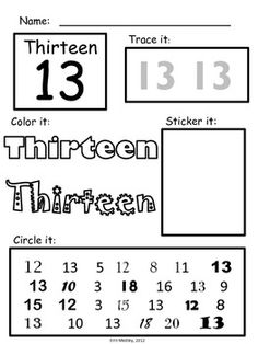 PreK-K Early Number Learning Worksheets: Numbers 10-20, more fun than tracing, cut, paste, sticker, make numbers.... math centers, morning work.
