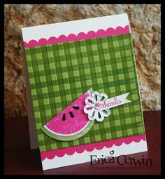 Stampin' Up! SU by erica cerwin, Pink Buckaroo Designs Another cute watermelon card Amy Lalaloopsy, Cute Cards, Diy Cards, Pretty Cards, Origami, Thanks Card, Creative Cards, Greeting Cards Handmade, Scrapbook Cards