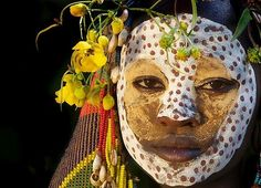 Portrait of a suri, surma tribe women, Ethiopia.
