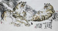 Chinese Tiger Paintings Artists | ... Chinese Painting Handpainted Asian Style Oriental Modern Art Famous