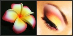Color inspiration for this eye makeup is from the Hawaiian Plumeria flower. It is used in perfume & to make leis.