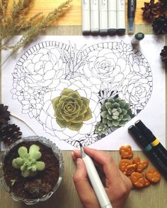 Printable Succulent Heart Coloring Page by HiddenMushroom (Print & Color)