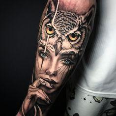 owl tattoo men * owl ` owl tattoo ` owl drawing ` owl tattoo design ` owl tattoo for women ` owl art ` owl crafts ` owl tattoo men Realistic Tattoo Sleeve, Wolf Tattoo Sleeve, Epic Tattoo, Tattoo Sleeve Designs, Sleeve Tattoos, Wolf Girl Tattoos, Girl Face Tattoo, Leg Tattoos Women, Owl Tattoo Back