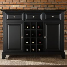 Crosley Newport Buffet Server / Sideboard Cabinet with Wine Storage in Black - - Sideboards & Buffets - Kitchen and Dining - Furniture Kitchen Sideboard, Black Sideboard, Sideboard Cabinet, Media Cabinet, Wine Storage Cabinets, Kitchen Storage, Kitchen Decor, Kitchen Ideas, Kitchen Tile