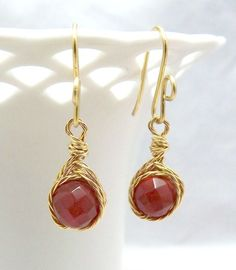 Petite twisted wire wrapped carnelian earrings only
