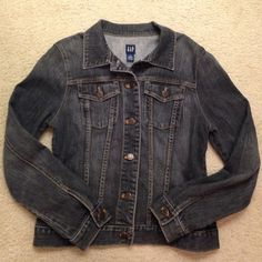 Great like new condition jean jacket by GAP Super cute like new condition black jean jacket by the gap size medium price firm GAP Jackets & Coats Jean Jackets