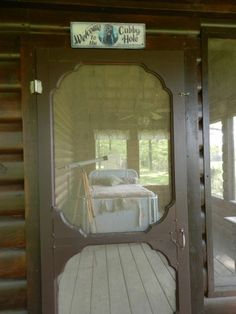 Our summer sleeping porch! Front Door Porch, Sleeping Porch, Screen Doors, Decks And Porches, Cottage House, Sunrooms, Cabin Plans, Cottage Ideas, Hammocks