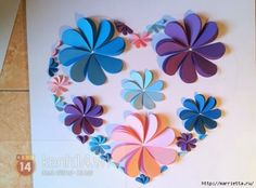ORIGINAL 3D PANELS WITH APPLIQUE HEART OF THE PAPER.