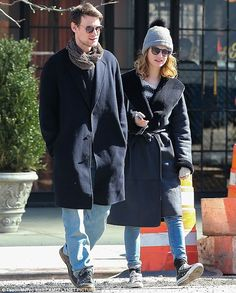 Walking in step: Lily James and Matt Smith enjoyed a romantic stroll in New York City onThursday