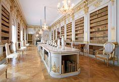Libary inside Drottningholm Palace, royal palace in Sweden.