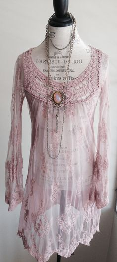 Blush pink Sheer Bohemian embroidered Dress with by BohoAngels, $85.00