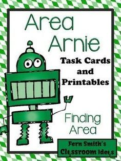 Area Arnie Finding Area Task Cards and Printables #Free Preview Includes 4 FREE Colored Perimeter Task Cards for YOU to try in YOUR classroom! #TPT $Paid
