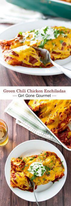 Creamy, cheesy and extra saucy green chili chicken enchiladas! | girlgonegourmet.com
