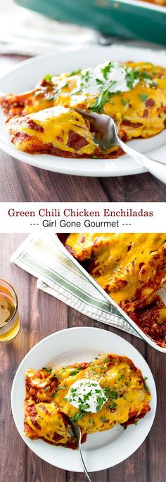 Creamy, cheesy and extra saucy green chili chicken enchiladas! | girlgonegourmet.com