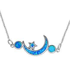 La Preciosa Sterling Silver Opal Moon and Stars Necklace, Women's