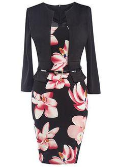 Black Floral Long Sleeve Pencil Dress For Work