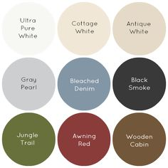Favorite paint colors for a farmhouse. (Behr) I'm pretty much in agreement with this.  I especially LOVE Awning Red! <3