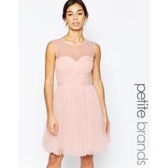 Little Mistress Petite Embellished Prom Dress ($129) ❤ liked on Polyvore featuring dresses, nude, pink prom dresses, embellished dresses, sweetheart neckline cocktail dress, petite prom dresses and petite wrap dress