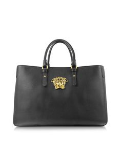 Versace Medusa Logo Black Leather Handbag at FORZIERI Black Leather Handbags 5f0303005880a