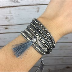 """[Nakamol] Tassel & Crystal Wrap Bracelet Boho Chic Shimmering crystal beaded wrap bracelet with fun chain and tassel accent. Quad wrap style. Looks great alone or layered. Could also be worn as a long necklace.  Length: 32"""" - 34"""" Condition: NWT!  No Trades! Nakamol Jewelry Bracelets"""
