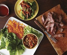 Korean-Style Spicy Steak Lettuce Wraps ** sounds good but I need to come up with a substitute for the chili paste 'cause it sounds like it's sweetened.