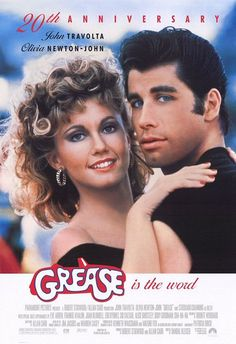 """Grease"" Grease is a pleasing, energetic musical with infectiously catchy songs and an ode to young love that never gets old. Poster Prints, Art Prints, Grease 1, Films, Movies, John Travolta, Film Movie, Tv, Couple Photos"
