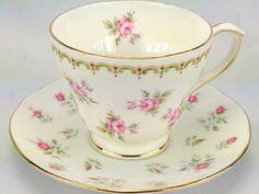 Vtg Duchess English Bone China Pink Green Roses Teacup & Saucer Gold Trim #DuchessChina