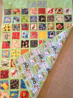 I Spy Quilt made with 4 1/2 inch fussy cut squares
