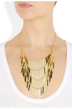 Isharya|Fringe 18-karat gold-plated necklace|NET-A-PORTER.COM