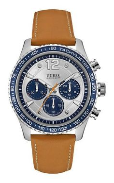 Guess W0970g1 Gents' Leather Strap Sport Watch, Silver - Was £149 Now £74.50