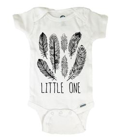 Baby Onesie  Feathers Little One Bohemian  by bellavitashoppe