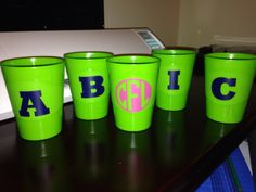 Labeled camping cups