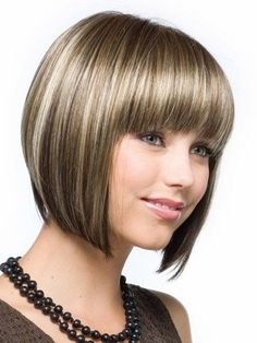 Traditiona Brown Straight Chin Length Synthetic Wigs Short Blunt Bangs Hair,JFW0008