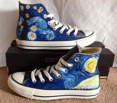 Van Gogh s Starry Night Van Gogh s Starry Night Community Post 15 Unique Customized Converse Sneaker Designs Cool Converse, Converse Sneakers, Converse All Star, Converse Design, Painted Converse, Disney Painted Shoes, Sneakers Sale, Canvas Sneakers, Converse High