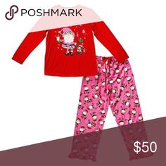 Women's Santa Pajama Set Product Details Match your little mini-me this Christmas season with these women's' Dollie & Me pajamas, featuring a cute Santa and elf print design. In red.  PRODUCT FEATURES 2-piece set includes: top & bottoms Top: crewneck, long sleeves Bottoms: elastic waistband, ruffle hem FABRIC & CARE Polyester Machine wash Imported Intimates & Sleepwear