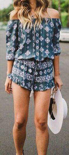 #summer #outfits / green off the shoulder romper