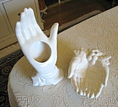 Nelson McCoy hand vase and hand tray for sale at More Than McCoy on TIAS! So shabby chic!